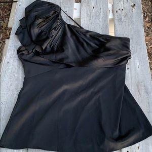 BCBG MaxAzria Black One Shoulder Top sz L